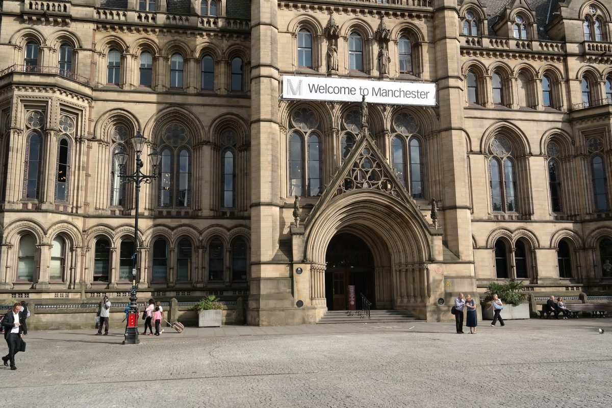 The front of Manchester Town Hall.