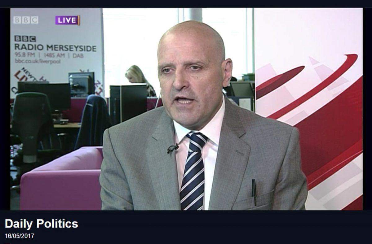 Video still of Steve Radford on the programme.
